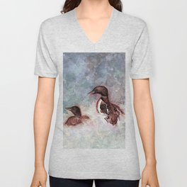 Loon Calling by Maureen Donovan Unisex V-Neck