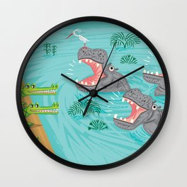 Crocodiles and Hippos Wall Clock