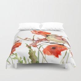 Cardinal Bird and Poppies, Poppy Flowers Duvet Cover