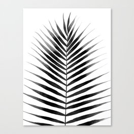 Palm Leaf Watercolor | Black and White Canvas Print