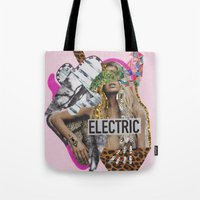 sia Tote Bags featuring ELECTRIC FANTA-SIA  by Vasare Nar