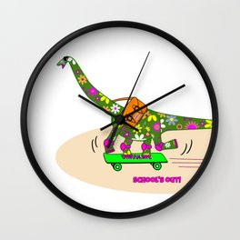 Schools Out for Brenda the Dinosaur Wall Clock