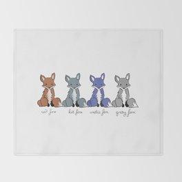 Cute Kawaii North American Fox Types Arctic Kit Red Gray Throw Blanket