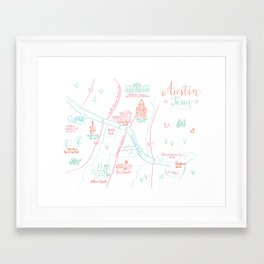 Austin, Texas Illustrated Calligraphy Map Framed Art Print