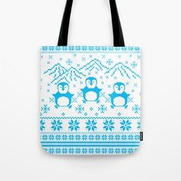Cute Blue Scandinavian Penguin Holiday Design Tote Bag