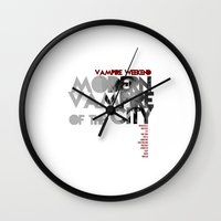 modern vampires of art history Wall Clocks featuring Vampire Weekend - Modern Vampires of the City / Album Cover Art LP Poster  by FunnyFaceArt