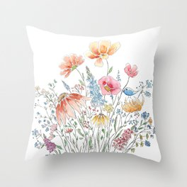 wild flower bouquet and blue bird- ink and watercolor 2 Throw Pillow