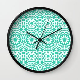 Vintage style bohemian with abstract tribal flowers Wall Clock