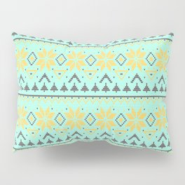 Knitted Christmas pattern turquoise Pillow Sham