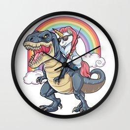 Unicorn Riding Dinosaur T Shirt T-Rex Funny Unicorns Party Rainbow Squad Gifts for Kids Boys Girls Wall Clock