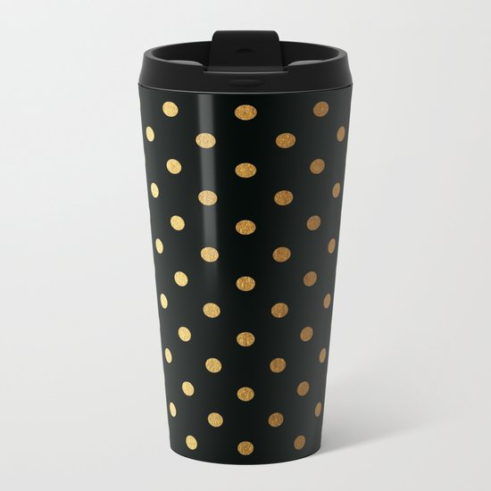 Gold polkadots on black pattern Metal Travel Mug