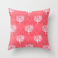 coral Throw Pillows featuring Coral by Marta Li
