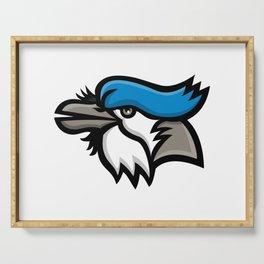 Blue Jay Head Mascot Serving Tray