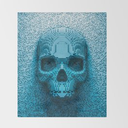 Pixel skull Throw Blanket