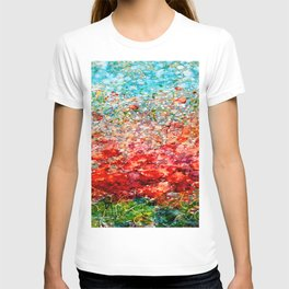Field Of Spring Poppies Panorama T-shirt
