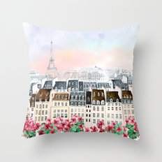 the city of Paris with flowers Throw Pillow