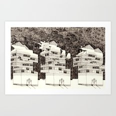 Deconstructed Buildings at Night Art Print