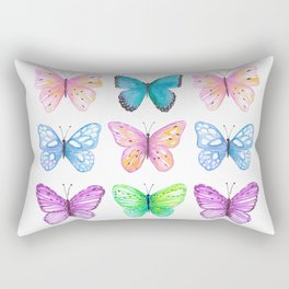 Vibrant butterflies watercolor Rectangular Pillow