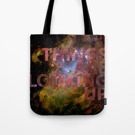 Galactic Positivity Wall Text Tote Bag