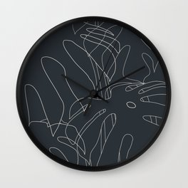 Monstera No2 Black Edition Wall Clock