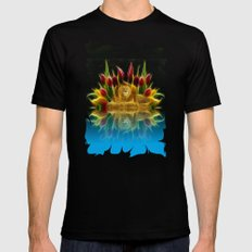 Lion and flowers Black Mens Fitted Tee MEDIUM