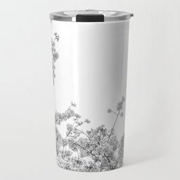 Cherry Blossoms (Black and White) Travel Mug