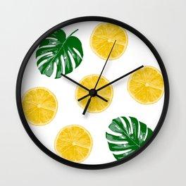 Lemons & Monsteras Wall Clock