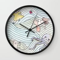 cook Wall Clocks featuring Cook Party by Jane Chu