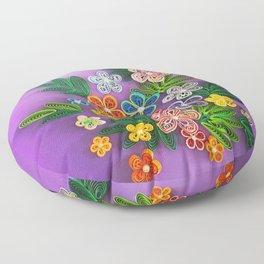 Vivid multicolour quilled flowers on lavender purple background Floor Pillow