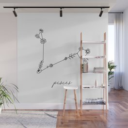 Pisces Floral Zodiac Constellation Wall Mural