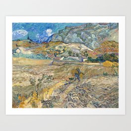 Landscape at Saint-Rémy by Vincent van Gogh Art Print