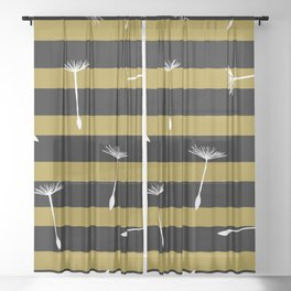 flying dandelion seeds simple seamless pattern on Yellow Olive Green stripes Background Sheer Curtain