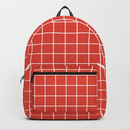 Vermilion - red color - White Lines Grid Pattern Backpack