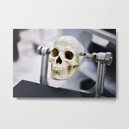 Human skull model in clamps for education Metal Print