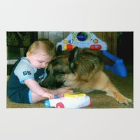 german shepherd Area & Throw Rugs featuring German Shepherd Spit Shine by GermanShepherdCrazy
