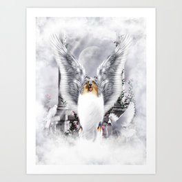 Winged Blue Merle Collie Angel in Heavenly Scene Art Print