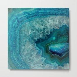 Turquoise teal decorative stone Metal Print