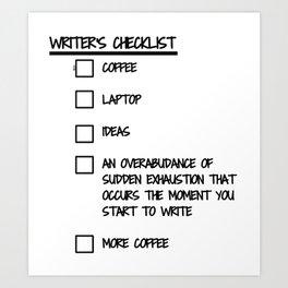 Writer's Checklist Art Print