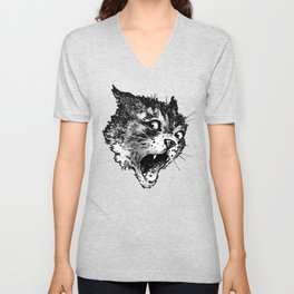 Freaky Cat B&W / Late 19th century illustration of very surprised cat Unisex V-Neck