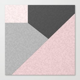 Gray , pink , patchwork Canvas Print