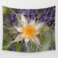 bali Wall Tapestries featuring Bali Dream Flower - Purple and Green Lotus Art by Fusion Idol