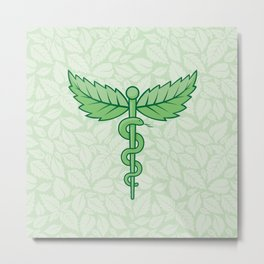 Caduceus with leaves Metal Print