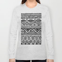 zig-zag handdrawn black and white Long Sleeve T-shirt