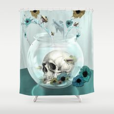 Looking glass skull Shower Curtain