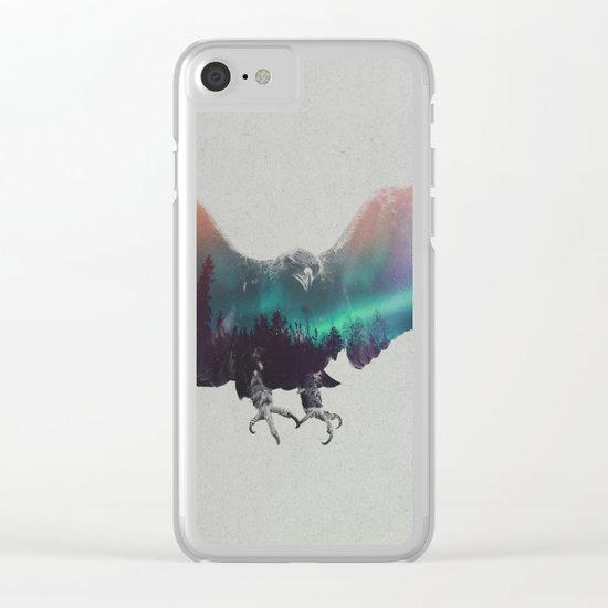 Eagle In The Aurora Borealis Clear iPhone Case
