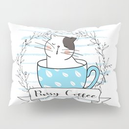 Pussy Cat in a Cup Pillow Sham