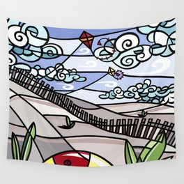 Flying Kites on the Beach Wall Tapestry