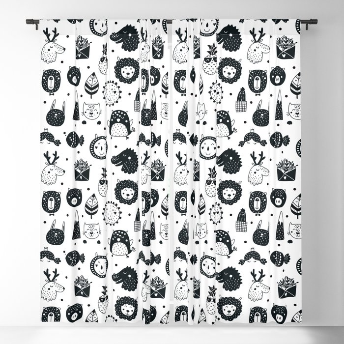 black and white Scandinavian Nursery Prints patterns Blackout Curtain