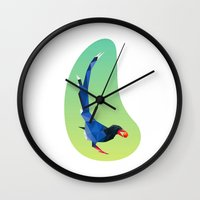 low poly Wall Clocks featuring Low-poly blue bird by fortyfive