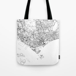 Singapore White Map Tote Bag